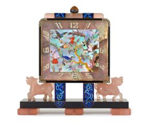 Lacloche Frères Art Deco Chinoiserie Desk Clock, Vladimir Makovsky